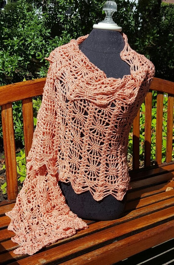 Hand crocheted custom designed spiderweb cotton shawl wrap