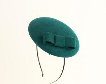 Mini Hat-Button-Fascinator-Wool Felt-Jade Green