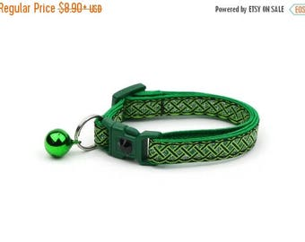 ON SALE St. Patrick's Day Cat Collar - Celtic Knots on Black - Small Cat / Kitten or Large Cat Collar