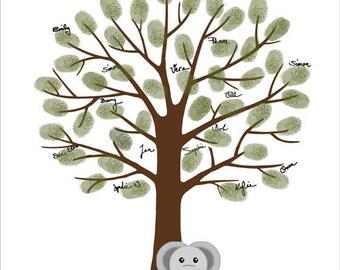 Elephant Fingerprint Tree - Baby Shower Thumbprint Tree Guest Book - Custom color, size, text and language - DIGITAL PRINTABLE JPEG