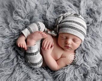 Newborn boy simple pants and sleepy hat set (Ethan) - photography prop - grey, charcoal, cream, white, light grey, stripes