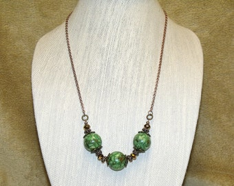 Boho Style Green Mosaic Stone Bead Necklace copper chain large chunky beads bohemian hippie chic indie art jewelry