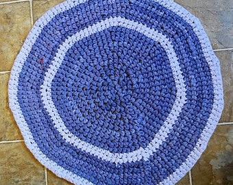 blue round bath mat rug upcycled tshirt