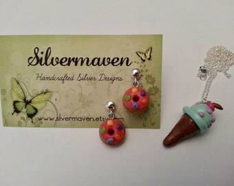 Polymer Earrings - Pink Sprinkle Donut Earrings - Sweet Shop Jewelry