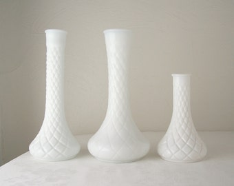white milk glass vase set of three diamond design mid century modern wedding decor