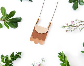Summer Forever - Layered Leather and Brass Necklace - OOAK Jewelry - Leather Jewelry - Statement Necklace - Ready to Ship