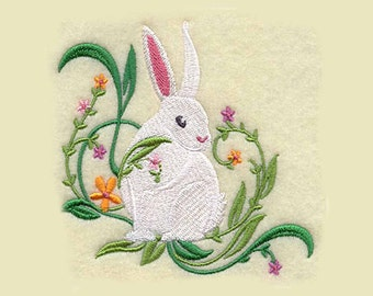 Spring Bunny Tea Towel | Embroidered Kitchen Towel | Embroidered Towel | Personalized Kitchen | Embroidered Tea Towel | Bunny Towel