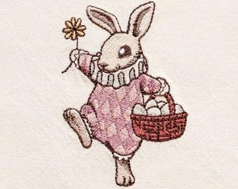 Easter Bunny Tea Towel | Easter Towel | Embroidered Kitchen Towel | Embroidered Towel | Bunny Towel | Retro Bunny Towel | Personalized Towel