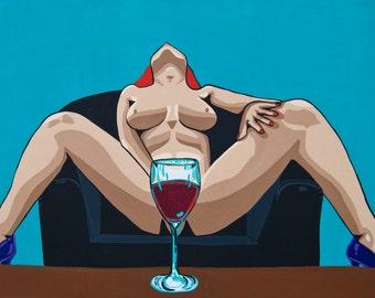 The Pleasure of Wine Popart painting by Artist Jamie Kuchon 11x14 Print