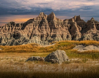 Badlands, Spire and Pinnacles, in the National Park, in South Dakota, Color, Fine Art, Geological, Landscape, Photograph