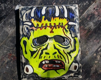 Vintage Halloween Mask Wood Wall Art, Carved and Painted Frankenstein, 3-D Wall Hanging, Retro Halloween Decor