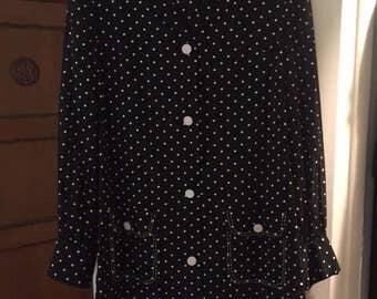 Vintage Black and White Polka Dot Shirt Dress Eve Le Coq