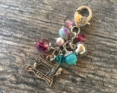 RESERVED FOR VICKEY Custom Clip-On Purse Charm Tibetan Silver charms, heart lobster clasp, crystals,  Key fob, bag charm