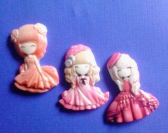 Kawaii anime girl cabochon charms 3 pcs---USA seller