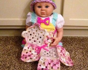 Crochet teddy bear lovey, mini blanket, travel blanket, mixed pink