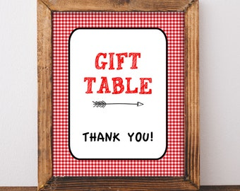 Gift Table Shower Sign, Red BBQ Baby Shower Sign, diy Printable, INSTANT DOWNLOAD