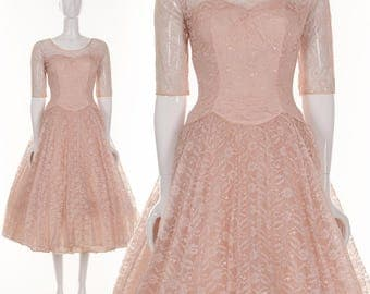 Vintage 1950's Dress Bombshell Blush Pink Lace Dress Retro Pinup Dress Formal Evening Dress Lace Couture Dress Marilyn Monroe xs s