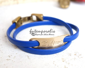 Bronze and blue leather bracelet, Believe, OOAK, SABR33