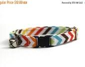 ON SALE Autumn Rainbow Chevron Stripe Cat Collar