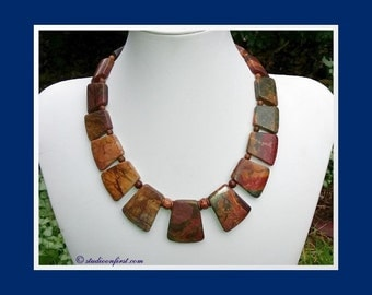 Jasper Bib Statement Necklace, Limited Edition, Statement Necklace, Picasso Jasper Necklace, Red Creek Jasper Necklace, Impact Necklace