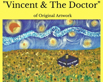 """Doctor Who fan art print, """"Vincent and the Doctor"""" -- photographic print of original painting, Vangogh"""