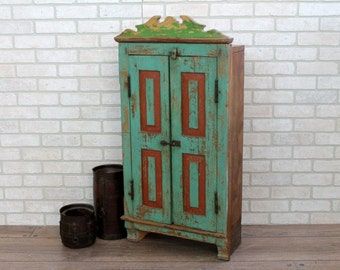 Reclaimed Cabinet Carved Vintage Indian Kitchen Cabinet Small Bookcase Spice Rack Turquoise Moroccan Decor Mediterranean Style Cottage Chic