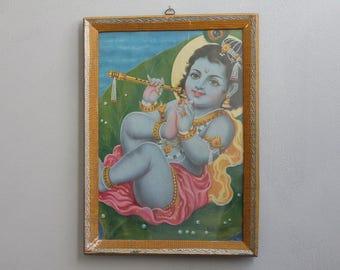 Bala-Krishna With Flute Vintage Framed Print Indian Hindu Deity Bohemian Decor Wall Poster Religious Art