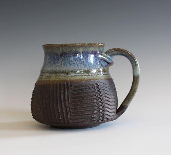 unique coffee mug, 13 oz, coffee mug pottery, stoneware mug, wheel thrown mug, hand thrown coffee cup, ceramic mug, pottery mug