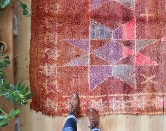 vintage Moroccan rug, geometric rug, rustic large area rug 8.8' x 6.3'