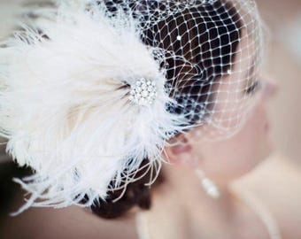 Fascinator, Wedding Headpiece, Bridal Fascinator, Ivory Fascinator, Bridal Headpiece, Bridal Hair Clip, Bridal Veil, Bandeau Veil