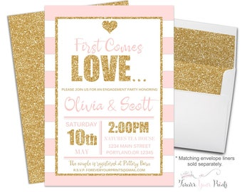 PINK + GOLD Bridal Shower Invitations - Couples Engagement Invitations - Shower The Couple Invitations - Shower The Couple Invites - Coed