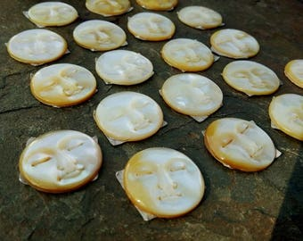 Moon Face, Cabochon, 20mm, Mother of Pearl, Hand Carved, Indonesia, Eyes Closed, Priced per Piece