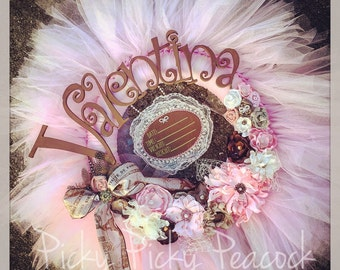 The Paris Wreath - Announcement Sign-  Vintage Style Shabby Chic Tutu Tulle Wreath- Pink Chocolate ivory lace