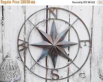 SPRING SALE Nautical Wall Compass / Compass Rose / Metal Nautical Compass / Indoor / Outdoor Nautical Sign