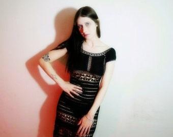 90s black knit little black dress size xs