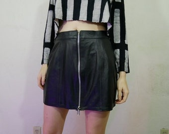 90s black leather goth biker zipper skirt size L