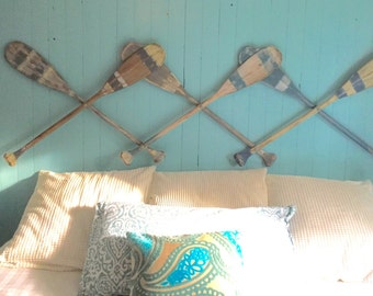Oar Paddle Headboard Wall Art Hook Rack Expandable Accordian Style  Twin Double Queen King Size Beach House Style Coastal Nautical by Castaw