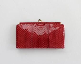 Vintage Judith Leiber Red Snakeskin Wallet // Designer Womens Coin Purse