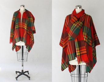 1960s Erika Elias Plaid Wool Zippered Poncho // 60s Vintage Charlie's Girls Red Poncho Wrap Cape Coat // One Size