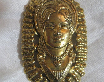 "Vintage Costume de Savoie Pendant; Tarentaise Woman in Traditional Costume, Constructed Stamped Brass Pendant Drop, 2 1/2"" by 1 5/8"",  1 Pc."