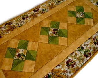 Quilted Table Runner in Fall Autumn Colors, Fall Leaves Table Runner, Thanksgiving Runner,  Autumn Quilted Table Topper, Gold Rust Green