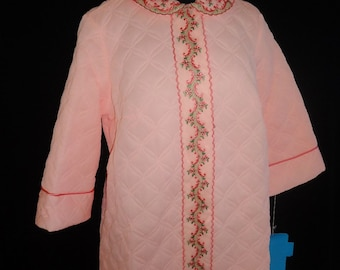 Neon Pink Nylon Quilted Vintage 1960's Women's NWT Robe L