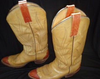 Two Tone Brown Leather Vintage 1970's Men's FRYE Cowboy Western Boots 9.5