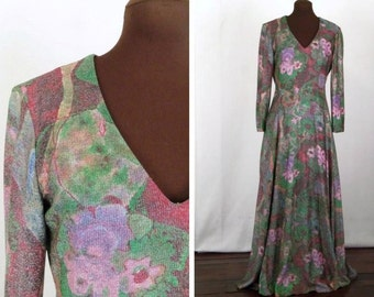 Vintage 70's Maxi Dress or Formal Multicolor Floral Metallic Print Lurex Size S / Small