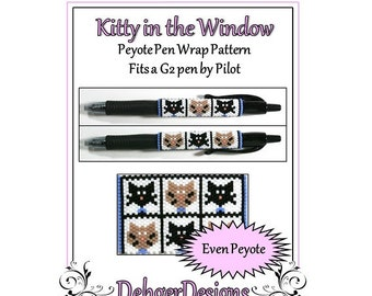 Peyote Beading Pattern (Pen Wrap/Cover)-Kitty in the Window