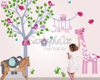 Nursery Wall Decal - Wall Decals Nursery - Tree and  Name - Safari Decal - Hanging name - Monogram - Nursery Decals