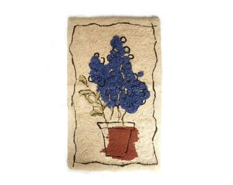 Folk Art Hand Hooked Wool Rug of Blue Bonnets ... Primitive Textiles, Texas Hill Country, 27 x 45 Inch, Amazing Floral Wall Hanging, Flower