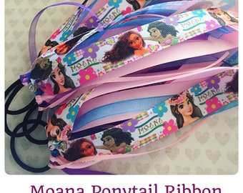 Moana Hair Bow Ponytail Holder: Ribbon Hair Streamer + Disney Print + Birthday Party Favor + Cheer Hair Bow + Theme Park + Island Princess