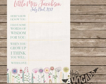 Spring Summer Doodle Flowers Girl Baby Shower Time Capsule Activity - DIY Printing or Professional Prints shipped