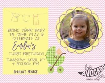 Baby Doll Birthday Party Invitation - Customizable